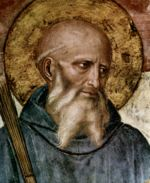 St Benedict: detail from the fresco of Beato Angelico.